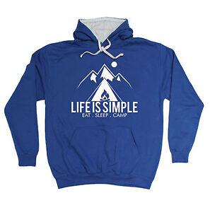LIFE IE SIMPLE EAT SLEEP CAMP HOODIE camping tent hoody funny birthday gift 123t