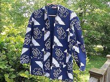 """Sandiva"" navy&white 100% cotton long sleeve BEACH jacket *L sea turtle design"
