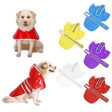 Clear Dog Raincoat Waterproof Rain Jacket for Dogs Reflective Hooded Coat S M L