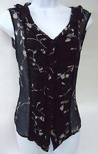 Jonathan Martin sz M/8/9 Silk Country Boho Lace Vest Blouse Floral Black Sheer
