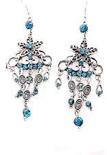 Chic Bohemia Antique Silver Metal Teal Blue Crystal Star Tassel Dangle Earrings