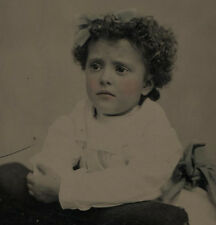 TINTYPE YOUNG GIRL, TANGLE OF CURLS, TINTED. BEAUTIFUL AND RARE IMAGE.