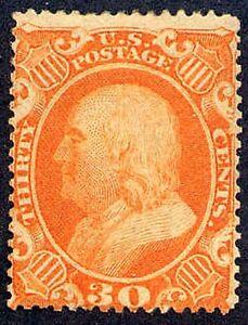 1860 US Stamp 38 A18 30c Mint Original Gum Catalogue Value $1,900 Certified