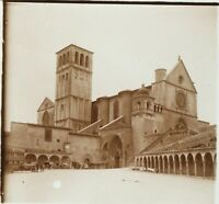 ITALIE Assisi Assise Basilique Saint-François, Photo Stereo Plaque Verre ca 1910