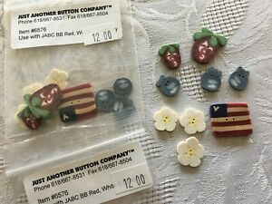 Red White Blue 4th of July Buttons 9 Pack LOT of 2 Packs Flag Blueberry Cherry