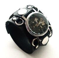 BLACK Leather Watch Wrist band Bracelet Steampunk GOTHIC - Mechanical