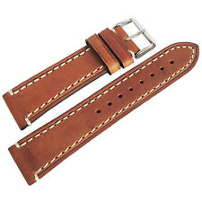 18mm Hirsch Liberty Mens Gold-Brown Tan Leather Contrast Stitch Watch Band Strap