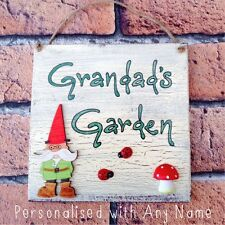 Outdoor Garden Sign Plaque Dads Grandad's Gnome Gifts PERSONALISED WITH ANY NAME