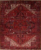 Large Vegetable Dye Vintage Geometric Red 10x13 Oriental Area Rug Hand Knotted