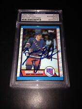 Brian Leetch Signed 1989-90 Topps Rookie Card NY Rangers PSA Slabbed #83702715