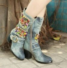 Chic Ladies Holes Round Toe Denim Chunky Heel Buckles Mid-calf Boots Party Shoes