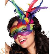 Rainbow Glitter Feather Masquerade Eyemask Fancy Dress Costume Accessory