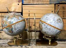 World Map Globe Book Ends Gold Plated Base