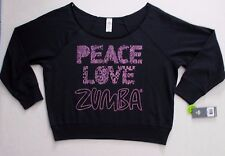 Women Top XL Black Solid Graphic Peace Long Sleeve Cotton Polyester  Zumba