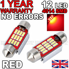 2 x 36mm Canbus Red LED Number Plate Interior 36mm C5W 239 3 SMD Bulbs