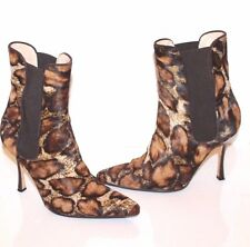 Manolo Blahnik Leopard Ankle  Boots Pony Hair Pull On Booties Size 38 EUR