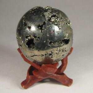 48mm PYRITE Polished Crystal Sphere Ball w/ Stand – Peru