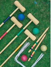 NEW 4 PLAYER CROQUET SET WOODEN MALLET KIDS SUMMER FUN OUTDOOR GARDEN GAME