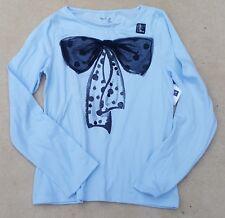 GAP KIDS Girls Sky Blue Large Black Nylon Bow Long Sleeved T Shirt XL 12 Years