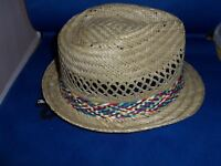 STRAW HAT FEDORA CAP TOP ONE SIZE FITS MOST MULTICOLOR BAND BRAND NEW