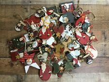 Set of 10 Various Rustic Christmas Tree Ornaments Holiday Primitive