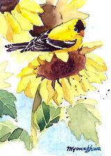 ACEO Limited Edition- Summer sunflowers, Bird art print, Goldfinch