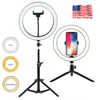 """US 10"""" LED Ring Light With Stand Tripod Mount Kit Phone Selfie Video Live Stream"""