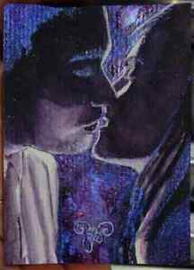 Shiny ORIGINAL Twin Flame PAINTING Portrait Couple Kiss LOVE ATTRACTION ART ACEO