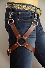 Thigh Leg Harness Garter Brown Leather O Ring & buckle Steampunk Cosplay