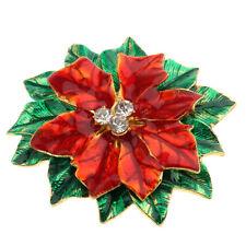Brooch Pin & Jewelry Pendant Christmas Flower Shaped PinsRhinestone Crystal