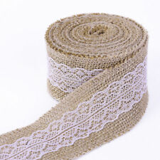 5M x 6cm Trims Tape Rustic Wedding Natural Jute Burlap Hessian Ribbon with Lace