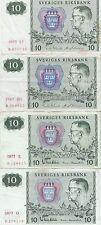 Lot de 4 billets de 10 kronor Suède