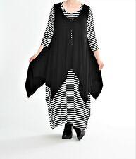 ♦ AKH Fashion A-ligne-shirt//paréo taille 42,44,46,48,50,52,54 Noir ♦