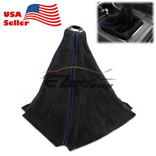 Genuine Real Leather Alcantara Shift Knob Boot Cover Black With Blue Stitches