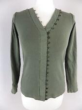 EAST cardigan Size 10 khaki green organic cotton