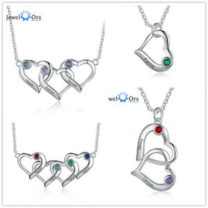 Heart Necklace Xmas Gifts Pendant 2/3/4 Name Chain Women Birthstone Personalized