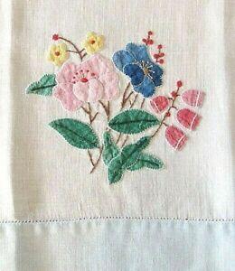 "Pink,Blue Floral,Red Bell Applique,Blue Hem Hand Towel,Home Decor 14"" x 22"""