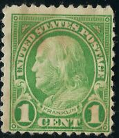 Rare G Ben Franklin 1 Cent LIME GREEN US Stamp Used Not Cancelled