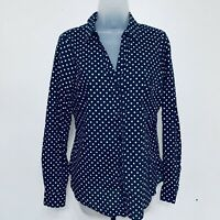 The Limited Blouse Size L Button Down Shirt Collared Long Sleeves Polka Dots