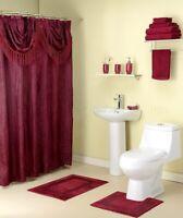 Burgundy Bathroom Shower Curtain Rug Towels Toothbrush Holder Soap Pump 15-Pc