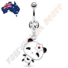 316L Surgical Steel Cz Gem Belly Ring with Dancing Panda Dangle