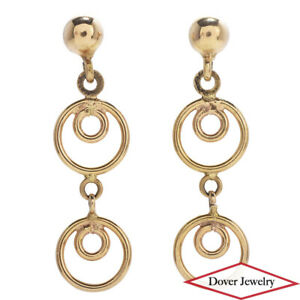 Estate 18K Gold Elegant Dangle Drop Earrings NR
