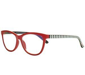 Betsey Johnson Designer Blue Light Blocking Glasses Red, Black, White Frames NEW