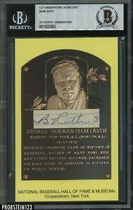 "Babe Ruth Signed Handwriting AUTO "" 3 "" on HOF Plaque Postcard Beckett BAS"
