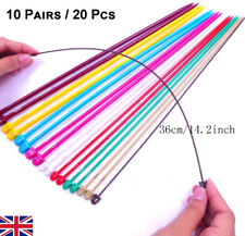 36cm Set of 20p 2.0-6.5mm Plastic Single Pointed Knitting Needles Internal Steel