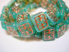 15 Aqua Blue Opal w/ Copper Czech Glass Rectangle Beads 11x12mm