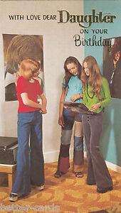 Happy Birthday Daughter Vintage 1970's Greeting Card - Groovy Teenagers Vinyl