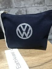 VW organic cotton wash makeup accessory bag medium navy silver glitter campervan