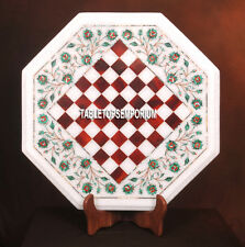 16'' White Marble Center Chess Table Top Carnelian Inlay Mosaic Furniture Decor