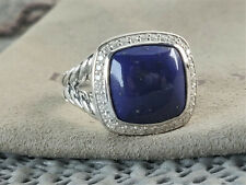 David yurman albion silver diamonds 11mm Blue Lapis Lazuli Ring size 8
